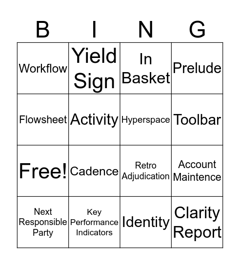EPIC Bingo Card