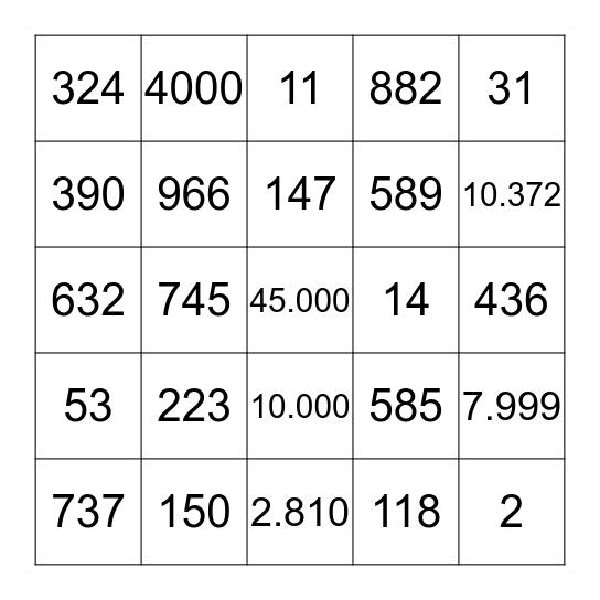 Los Numeros Bingo Card