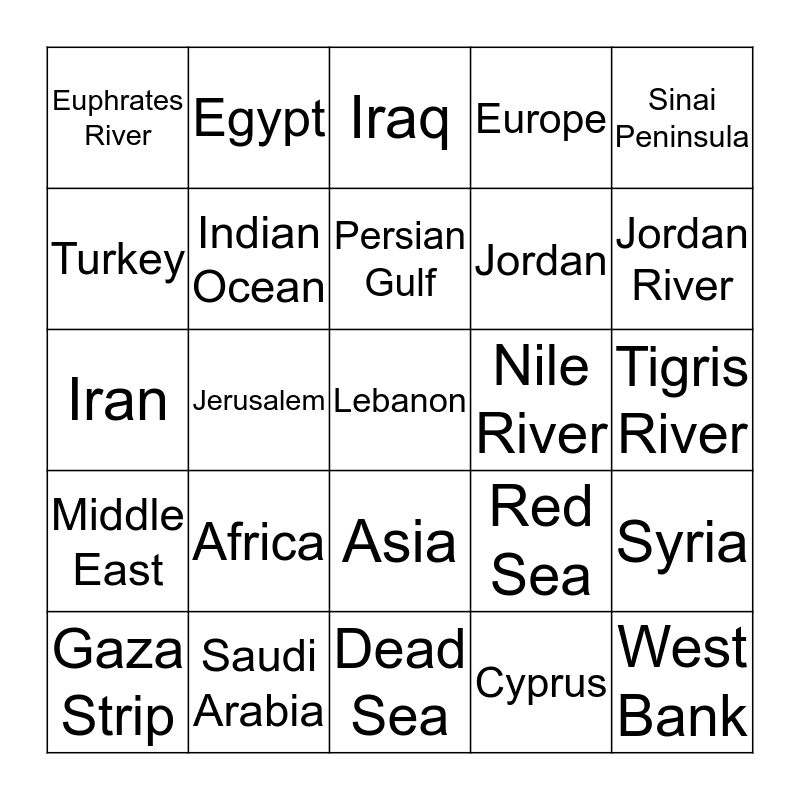 Geography Review Bingo Card