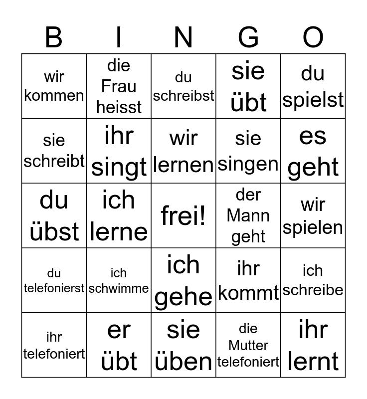 conjugate the verb Bingo Card