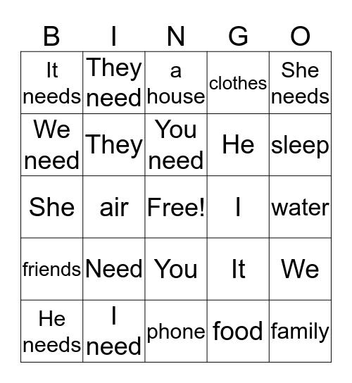 Need Bingo Card