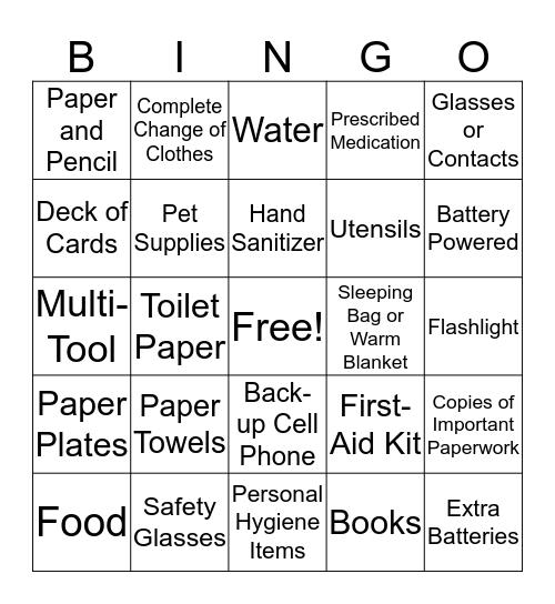 Disaster Kit BINGO  Bingo Card
