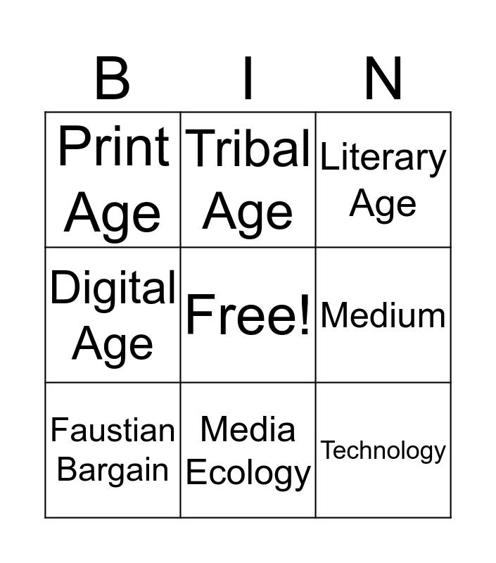 Media Ecology Bingo Card