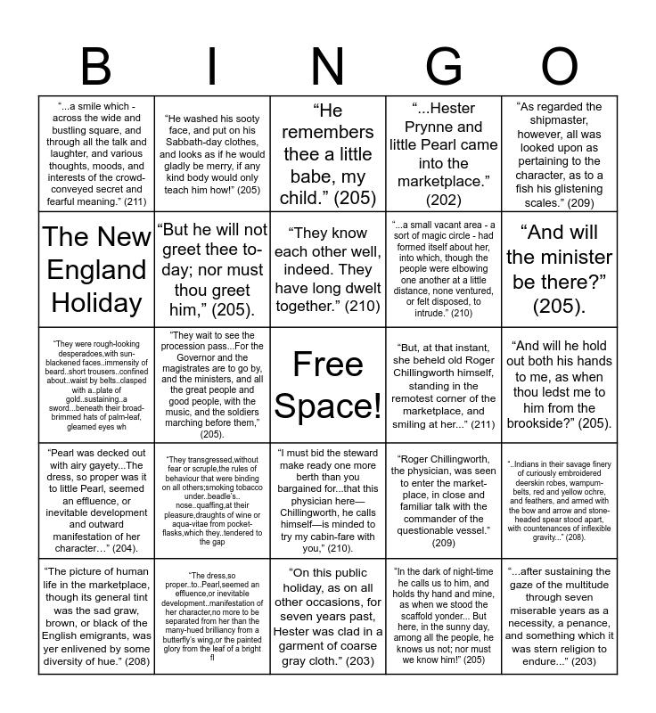 Chapter 21 Bingo Card