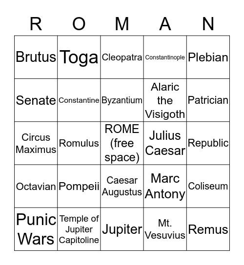 Roman History Bingo Card
