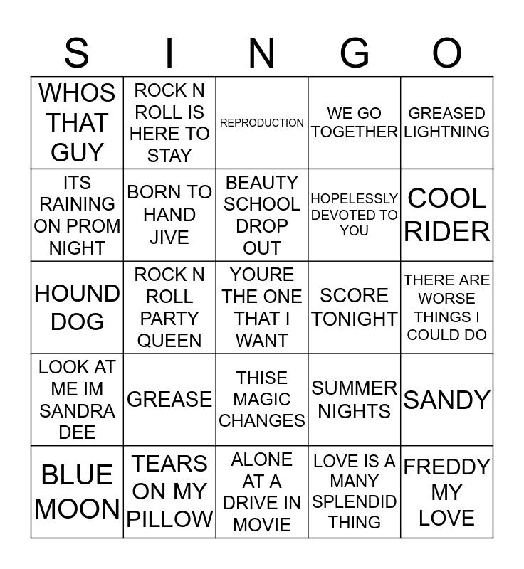 277 MUSICALS #4 Bingo Card