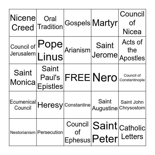 Early Church Bingo Card