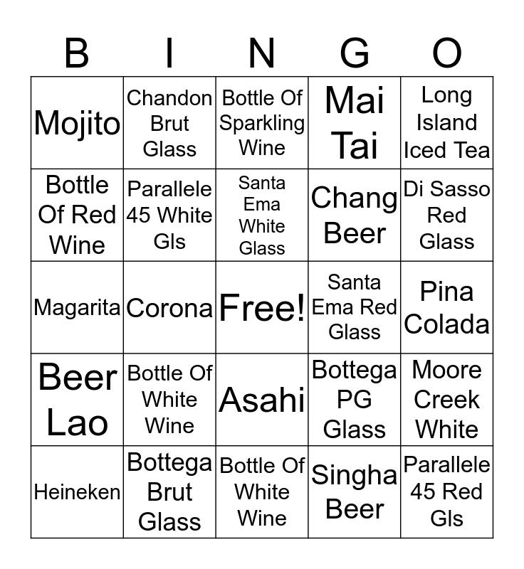 Liquid Pool Bar Bingo Card