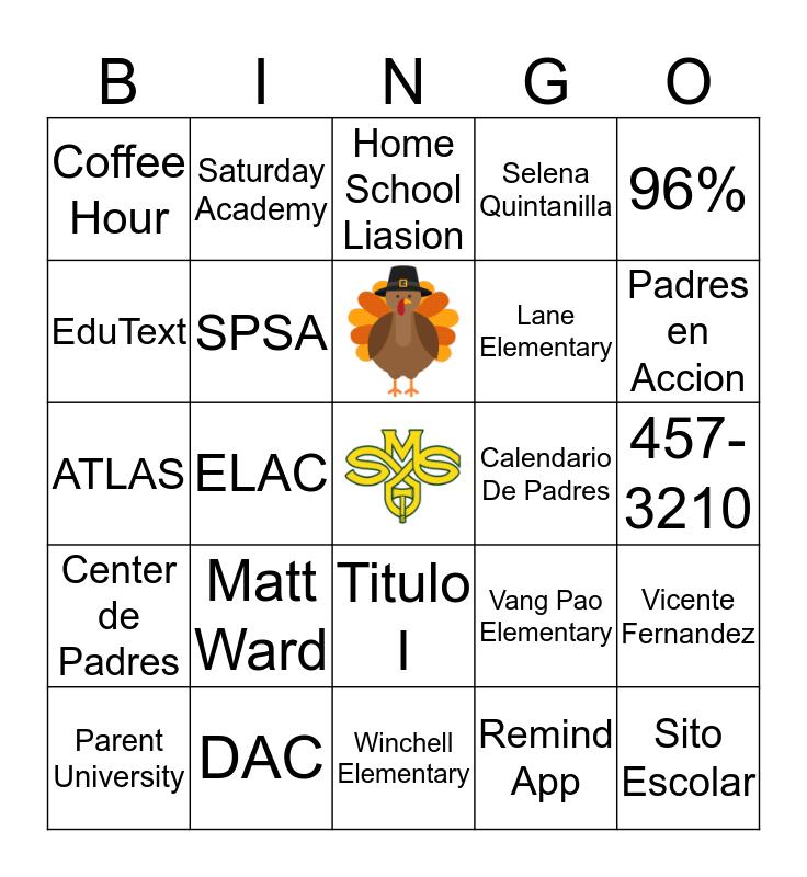 Sequoia Middle School Bingo Card