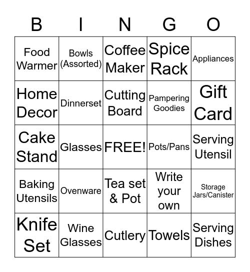 Yurisha's Bridal Bingo Card