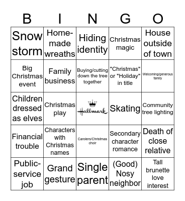 Hallmark Movies Bingo Card