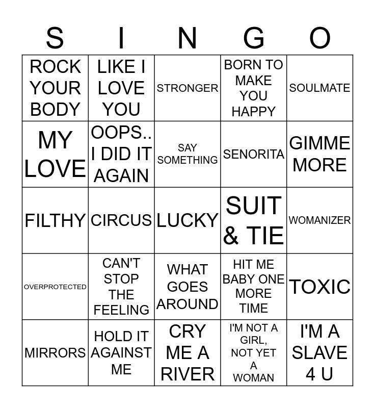 #2 - BRITNEY V'S J.T. Bingo Card