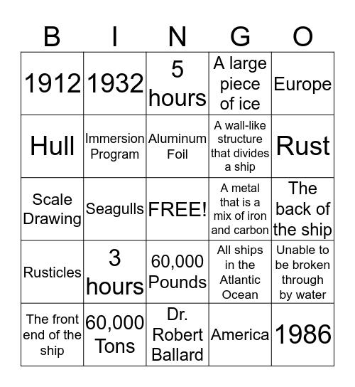 TITANIC Bingo Card