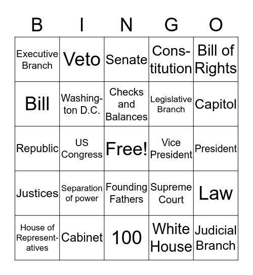 Branches of Government Bingo Card