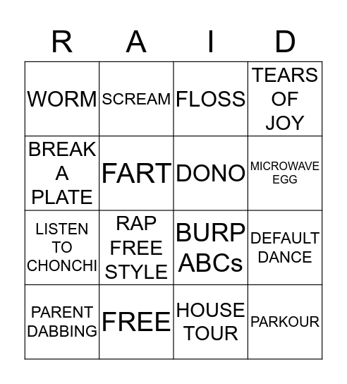 RAID BINGO! Bingo Card