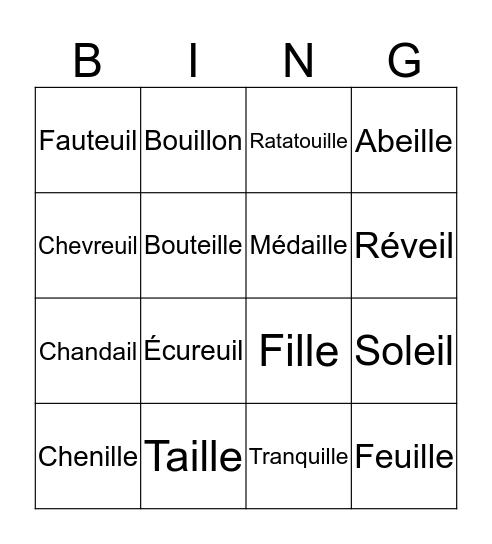 Les sons Bingo Card