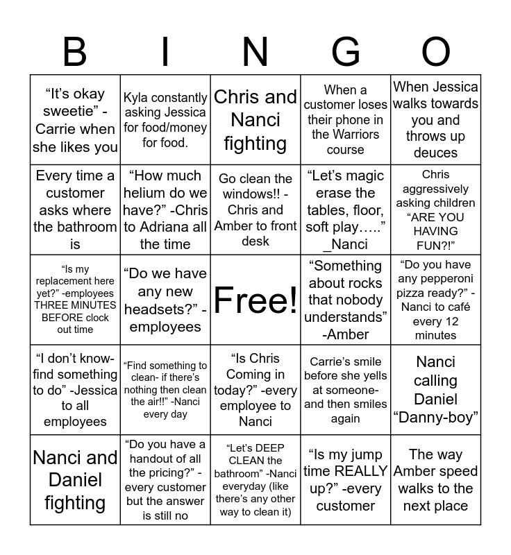 It's Urbannnn Air  Bingo Card