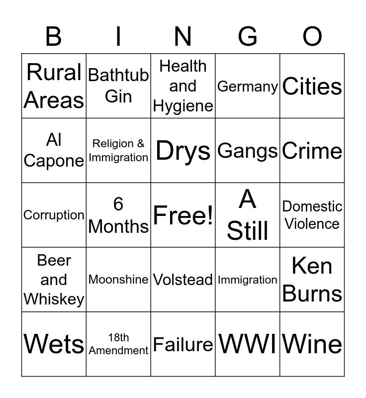 Prohibition Bingo Card
