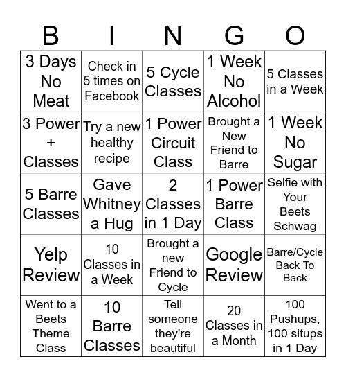 Beets Bingo Card