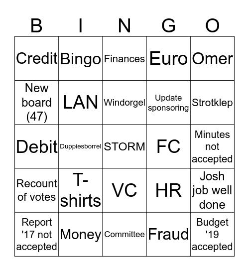 General Assembly STORM 19/20-11-2018 Bingo Card