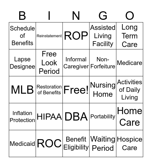 Glossary Term Bingo Card