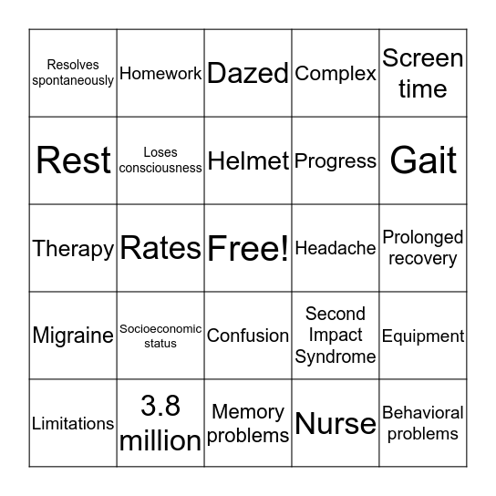 Concussion Bingo Card