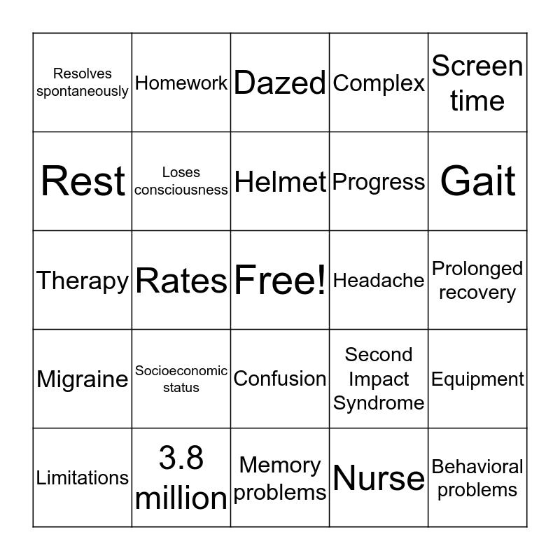 Concussion Bingo Card