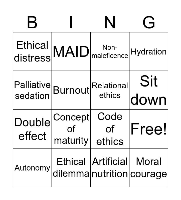 Ethical Practice Bingo Card
