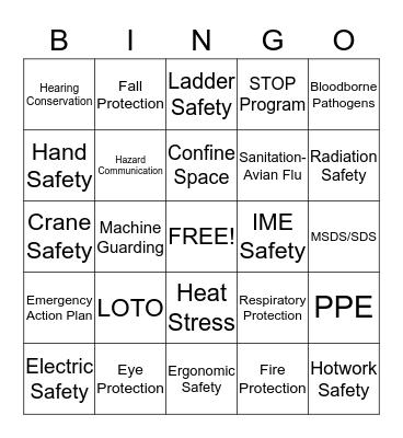 Safety Bingo Card