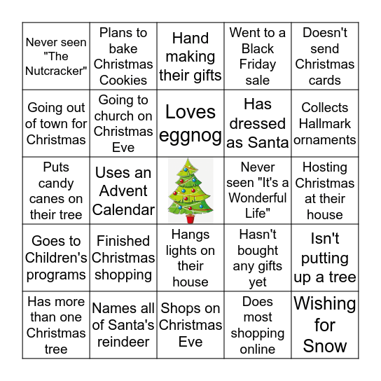 Mix and Mingle Christmas Bingo!  Bingo Card