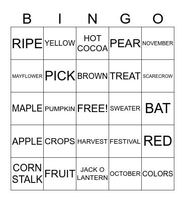 AUTUMN Bingo Card