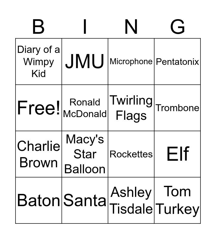Thanksgiving Day Parade 2018 Bingo Card