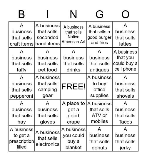 Merchant Bingo Card