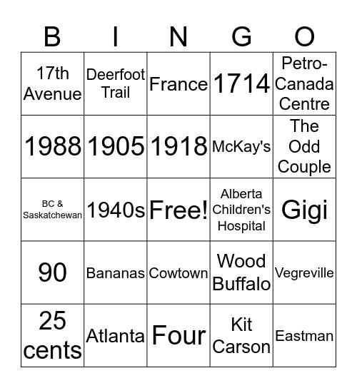 Jeopardy Bingo Card