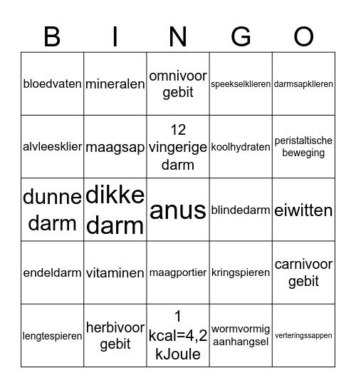 verteringsorganen Bingo Card
