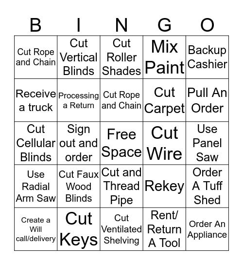 Skills Bingo Card