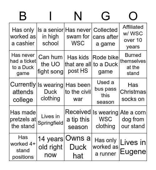 Duck Stand Bingo Card