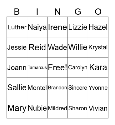 Family Bingo Card