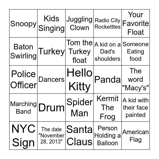 Macy's Thanksgiving Parade Scavenger Hunt Bingo Card
