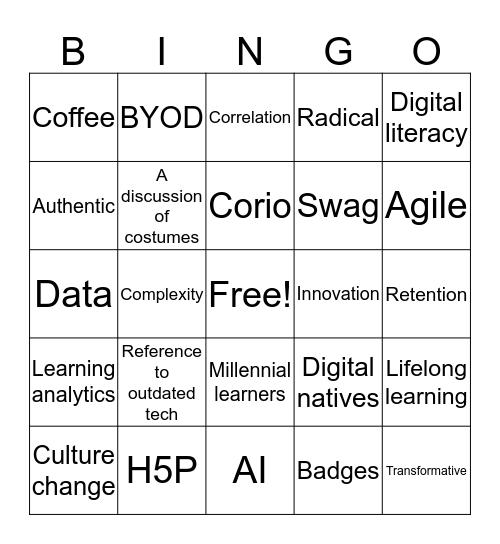 ASCILITE 2018 Bingo Card
