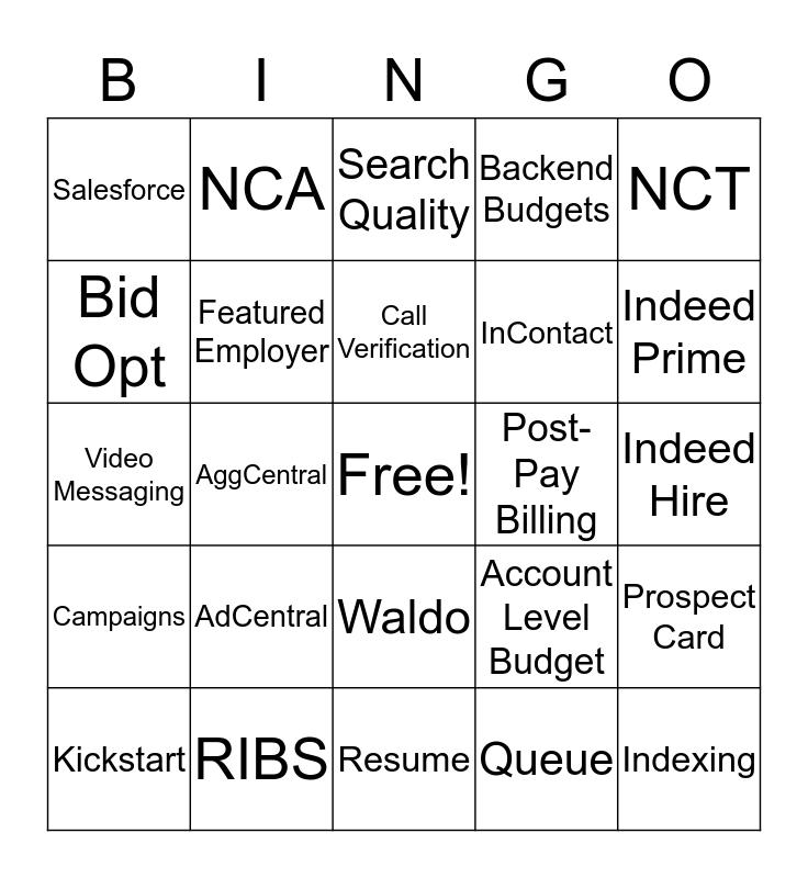 Indeed Bingo Card