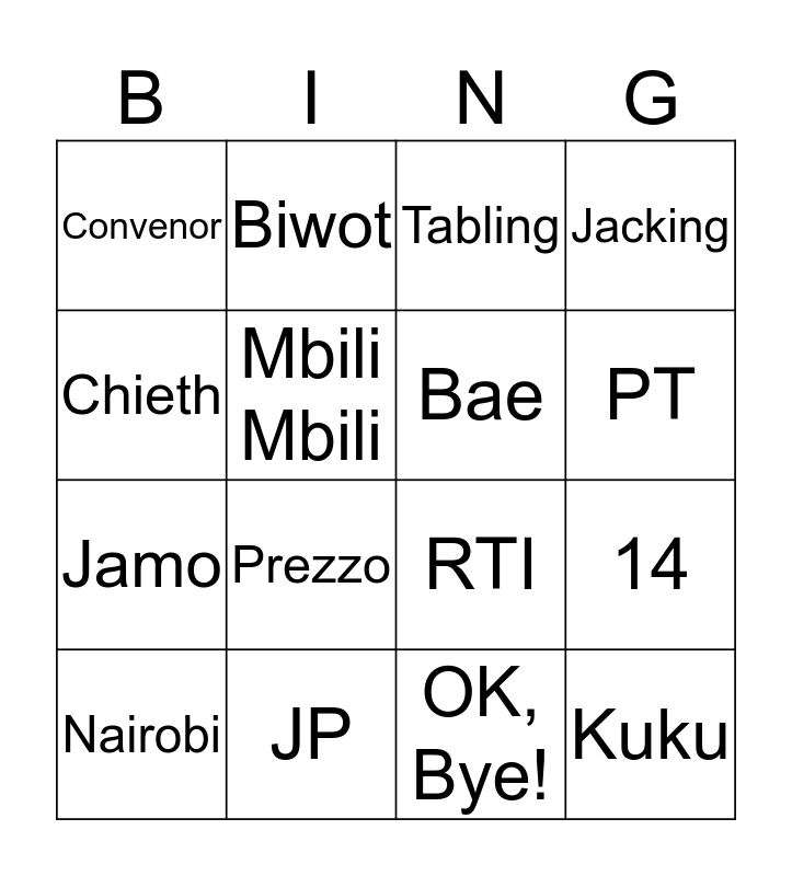 RT BiNGO Card