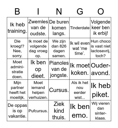 Afmeldingen Bingo Card