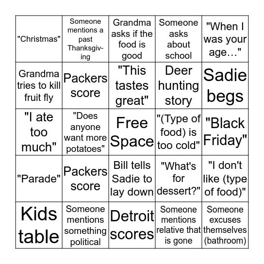 Thanksgiving Day Bingo Card