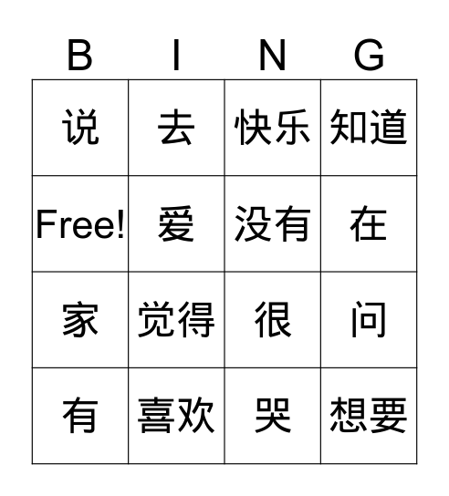 Vocab Quiz 2 Bingo Card