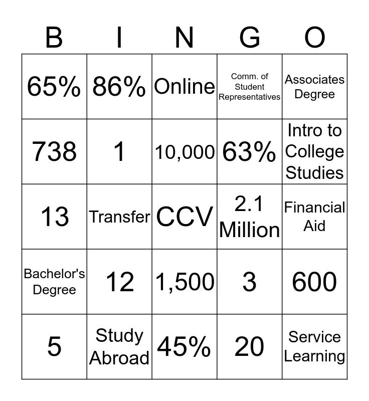 CCV Access Days Bingo Card