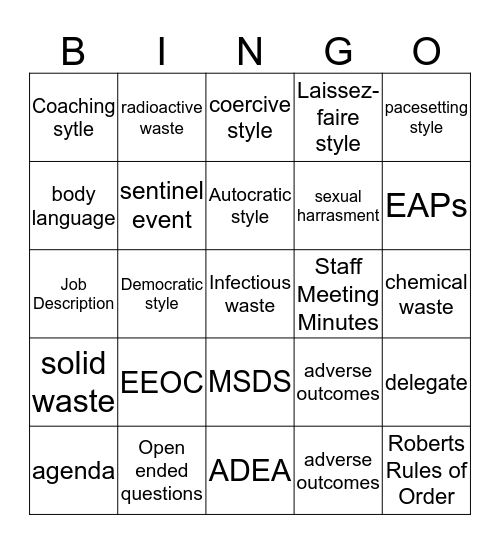 Managing the Medical Office Bingo Card