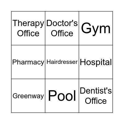 Locations - Health Bingo Card