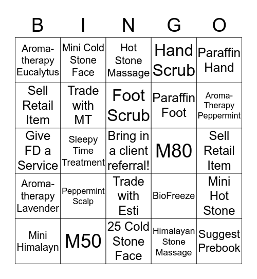 Massage Therapist BINGO  Bingo Card