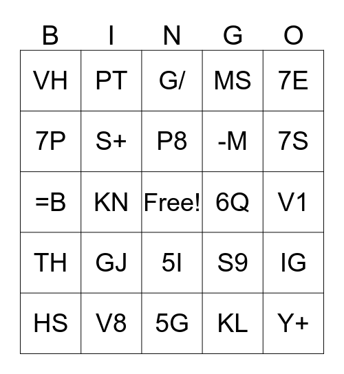 Service Coder Bingo Card